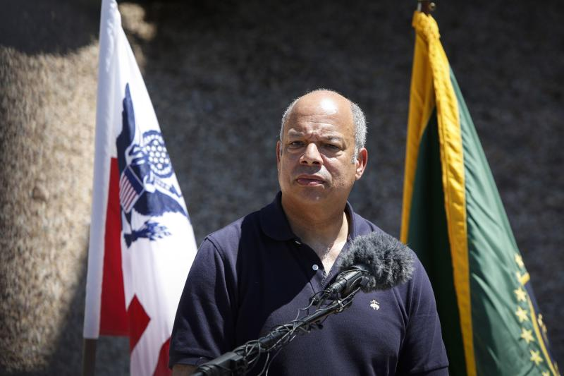 Department of Homeland Security Secretary Johnson speaks to the media at the Nogales Border Patrol Station in Nogales, Arizona