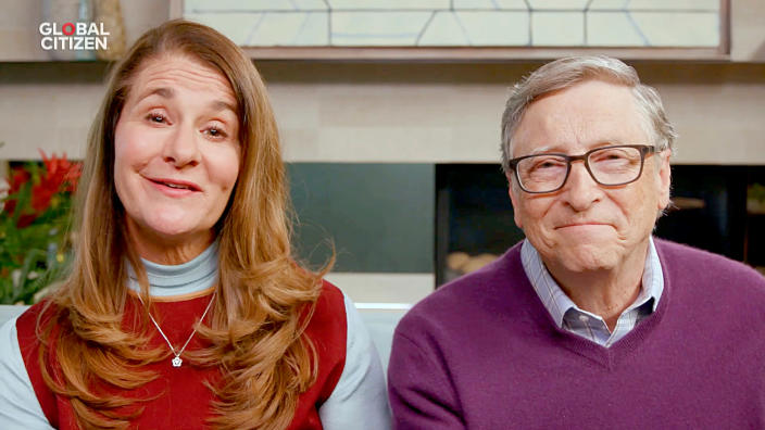 "UNSPECIFIED LOCATION - APRIL 18: In this screengrab, (L-R) Melinda Gates and Bill Gates speak during ""One World: Together At Home"" presented by Global Citizen on April, 18, 2020. The global broadcast and digital special was held to support frontline healthcare workers and the COVID-19 Solidarity Response Fund for the World Health Organization, powered by the UN Foundation. (Photo by Getty Images/Getty Images for Global Citizen )"