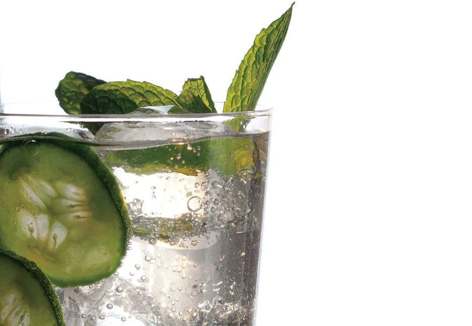 """Kick the can with this homemade fizzy drink. <a href=""""https://www.bonappetit.com/recipe/cucumber-mint-and-basil-soda?mbid=synd_yahoo_rss"""" rel=""""nofollow noopener"""" target=""""_blank"""" data-ylk=""""slk:See recipe."""" class=""""link rapid-noclick-resp"""">See recipe.</a>"""