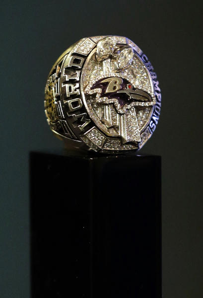 The Baltimore Ravens' Super Super Bowl XLVII championship ring is displayed after a ceremony at the team's NFL football practice facility in Owings Mills, Md., Friday, June 7, 2013. The Ravens defeated the San Francisco 49ers 34-31 to win their second franchise Super Bowl. (AP Photo/Patrick Semansky)