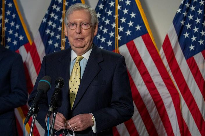 Senate Majority Leader Mitch McConnell speaks to the media on July 21, 2020, in Washington, DC.