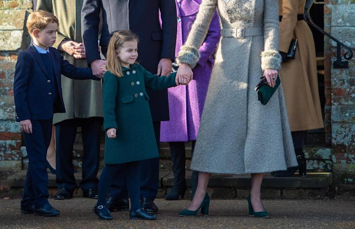 Prince George and Princess Charlotte at the Christmas Day morning church service at St Mary Magdalene Church in Sandringham, Norfolk. (PA Images)