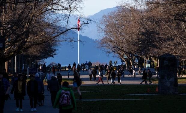 Students on campus at the University of British Columbia on Nov. 20, 2019. New guidelines are now in place for the fall for provincial post-secondary campuses after COVID-19 closed classrooms in spring 2020. (Ben Nelms/CBC - image credit)