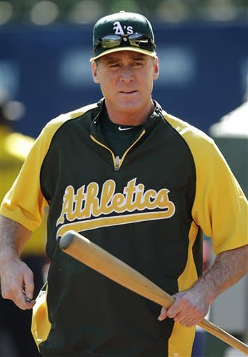 Oakland Athletics manager Bob Melvin readies his team for batting practice in preparation for Game 3 of the American League division baseball series against the Detroit Tigers, Monday, Oct. 8, 2012, in Oakland, Calif. (AP Photo/Ben Margot)