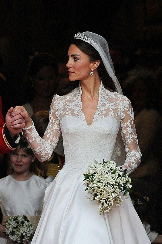 """<p>The Duchess of Cambridge always looks stunning, but she <em>really</em> wowed us at the 2011 <a href=""""http://www.goodhousekeeping.com/life/entertainment/news/a38168/royal-wedding-flower-girl/"""" rel=""""nofollow noopener"""" target=""""_blank"""" data-ylk=""""slk:Royal Wedding"""" class=""""link rapid-noclick-resp"""">Royal Wedding</a>. Kate's dress, a lace-sleeved gown with an elegant train designed by Sarah Burton, <a href=""""http://www.goodhousekeeping.com/beauty/fashion/g3941/most-expensive-wedding-dresses/?slide=5"""" rel=""""nofollow noopener"""" target=""""_blank"""" data-ylk=""""slk:cost $400,000"""" class=""""link rapid-noclick-resp"""">cost $400,000</a>. </p>"""