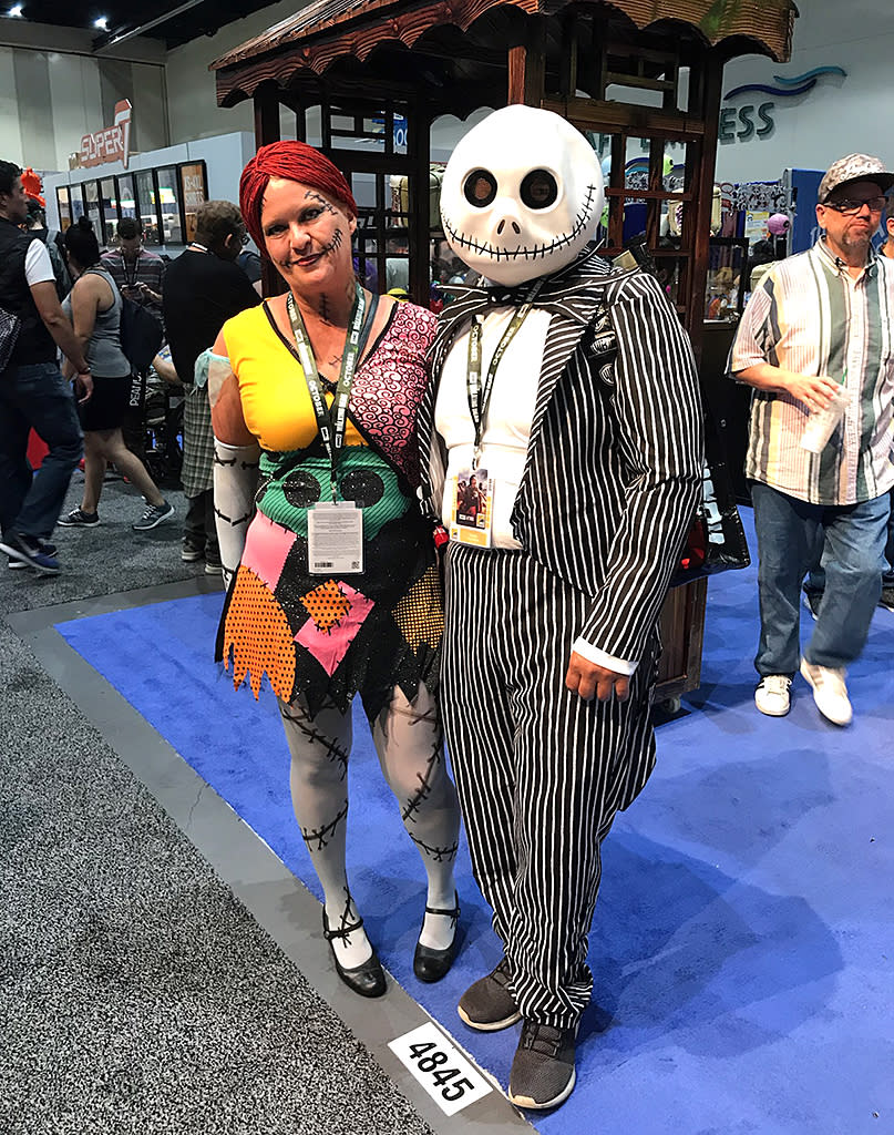 <p>Cosplayer couple dressed as Sallie and Jack Skellington from <em>The Nightmare Before Christmas</em> at Comic-Con International on July 18, 2018, in San Diego. (Photo: Angela Kim/Yahoo Entertainment) </p>