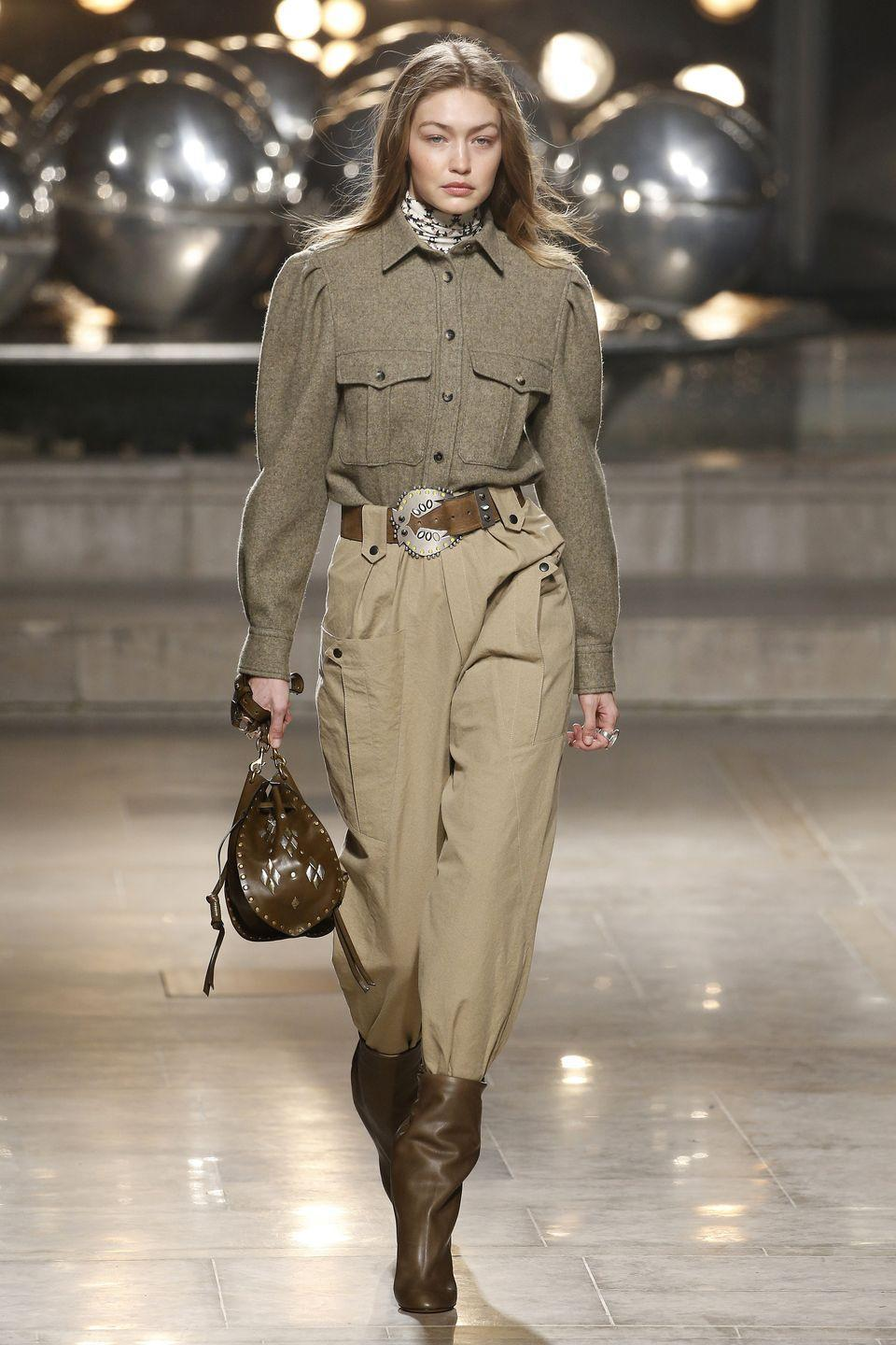 <p>Another look destined for our fall fashion vision boards? Gigi Hadid's runway look at the Isabel Marant autumn/winter show. </p>
