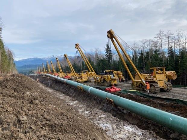 Coastal GasLink installs pipe along its 670 kilometre route from northeastern B.C.'s gas fields to an LNG export terminal in Kitimat, B.C.
