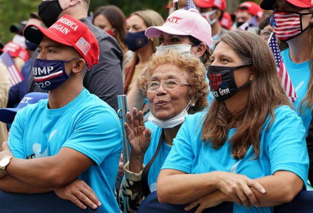 PHOTO: Supporters listen as President Donald Trump speak about law and order from the South Portico of the White House in Washington on Oct. 10, 2020.  (Mandel Ngan/AFP via Getty Images)