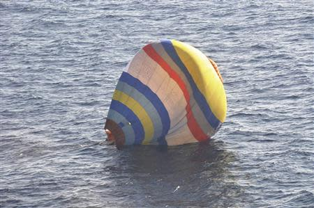 Handout photo of a hot-air balloon drifting on the ocean in the East China Sea near the disputed isles known as Senkaku isles in Japan and Diaoyu islands in China