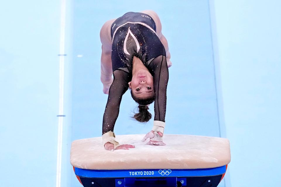 Sunisa Lee practices on the vault on July 22, 2021, during podium training ahead of the Tokyo Olympics at Ariake Gymnastics Centre in Tokyo, Japan.
