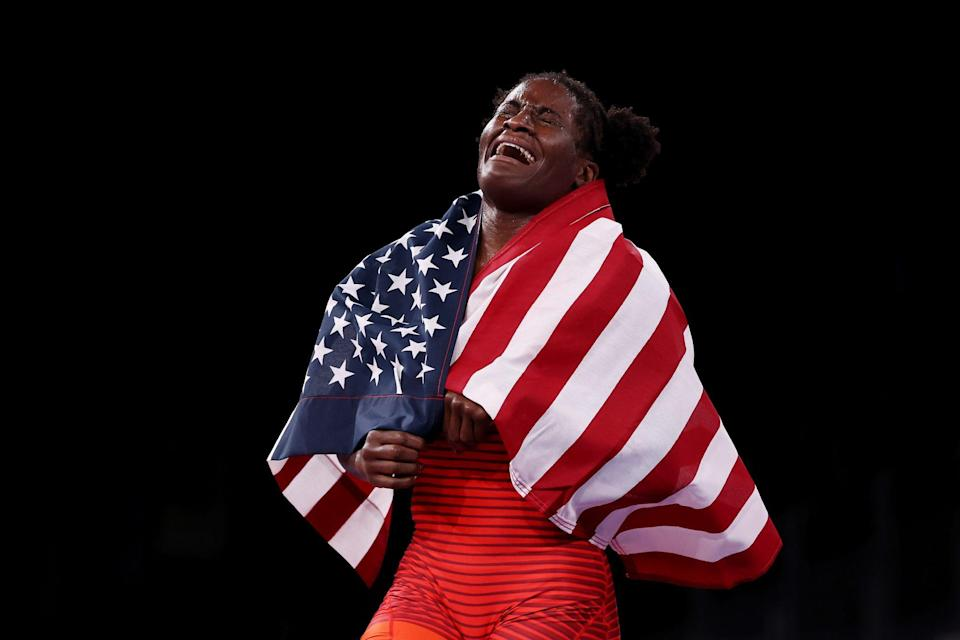 <p>Tamyra Mensah-Stock of Team USA defeats Blessing Oborududu of Team Nigeria to win wrestling gold following the Women's Freestyle 68kg Gold Medal Match at Makuhari Messe Hall on August 3.</p>