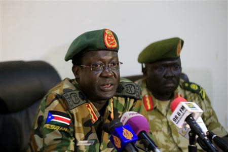 Chief of Staff of South Sudan's army, General James Hoth Mai speaks during a media update in Juba