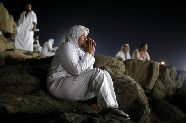 <p>Muslim pilgrims gather on Mount Mercy on the plains of Arafat during the annual haj pilgrimage, outside the holy city of Mecca, Saudi Arabia, Aug. 31, 2017. (Photo: Suhaib Salem/Reuters) </p>