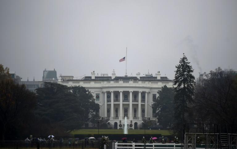 Flags were lowered at the White House in Bush's honor