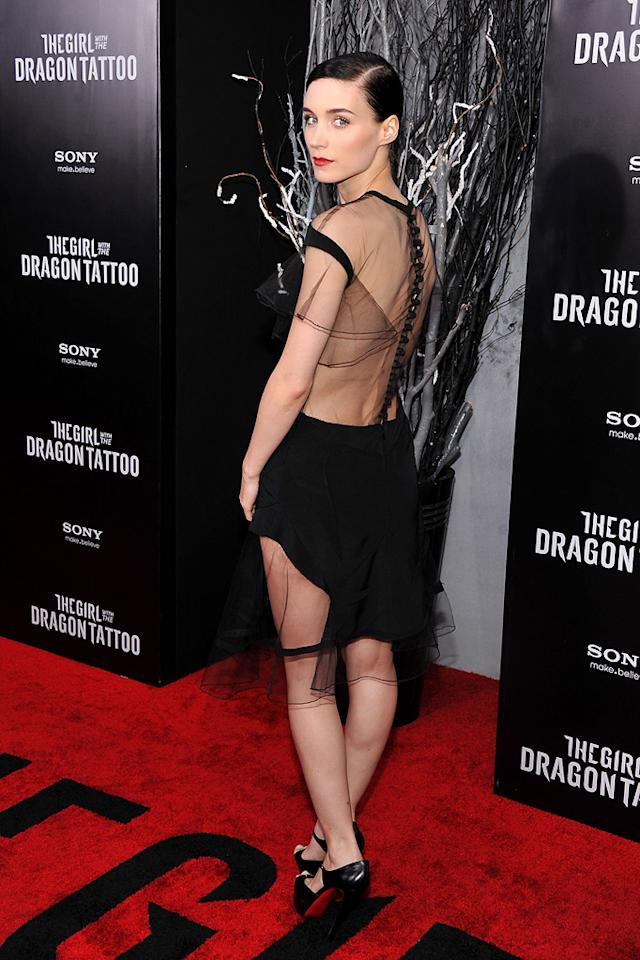 """<a href=""""http://movies.yahoo.com/movie/contributor/1809789186"""">Rooney Mara</a> at the New York premiere of <a href=""""http://movies.yahoo.com/movie/1810163569/info"""">The Girl With the Dragon Tattoo</a> on December 14, 2011."""