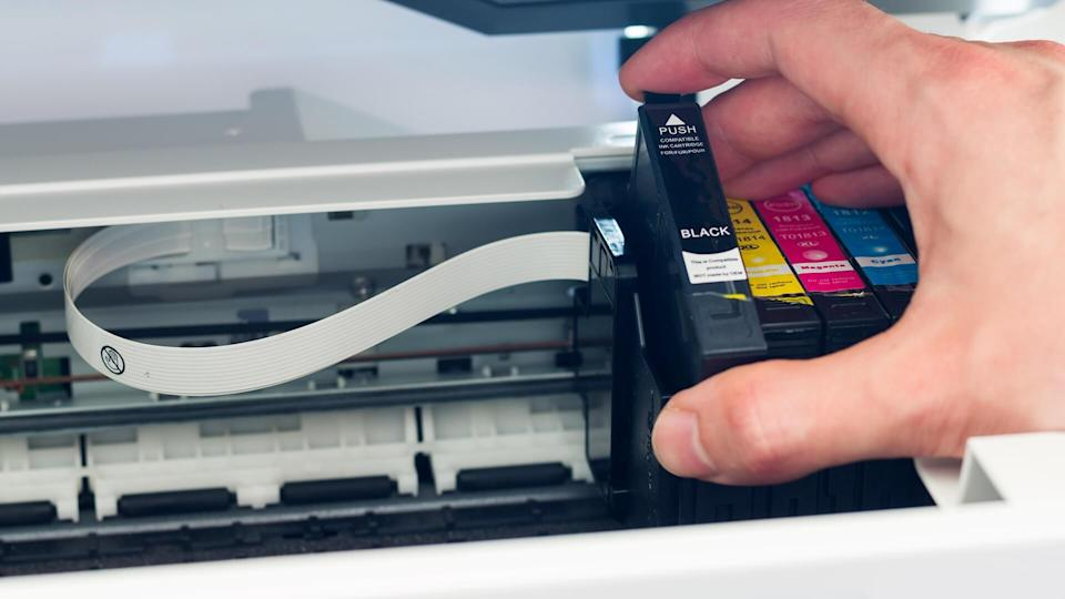 Third party printer cartridge in the hand.