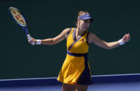 Belinda Bencic, of Switzerland, reacts during the third round of the US Open tennis championships against Jessica Pegula, of the United States, Saturday, Sept. 4, 2021, in New York. (AP Photo/Seth Wenig)