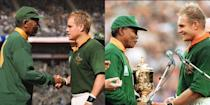 """<p><em>Invictus </em>told the story of how Nelson Mandela and rugby captain, Francois Pienaar (played by Damon), came together for a life-changing sporting event. According to <a href=""""https://www.telegraph.co.uk/culture/film/7093798/Matt-Damon-and-Morgan-Freeman-interview.html"""" rel=""""nofollow noopener"""" target=""""_blank"""" data-ylk=""""slk:The Telegraph"""" class=""""link rapid-noclick-resp""""><em>The Telegraph</em></a>, Mandela had once said that if anyone was to portray him in a movie, it should be Freeman.</p>"""