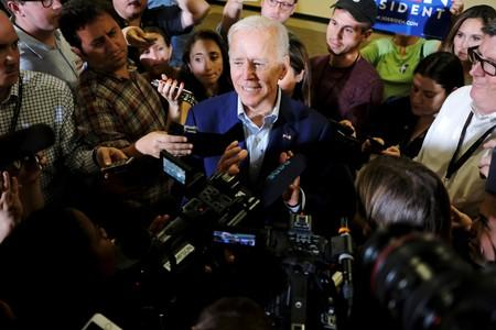 Democratic 2020 U.S. presidential candidate and former Vice President Joe Biden speaks to members of the press at an event at Iowa Wesleyan University in Mount Pleasant