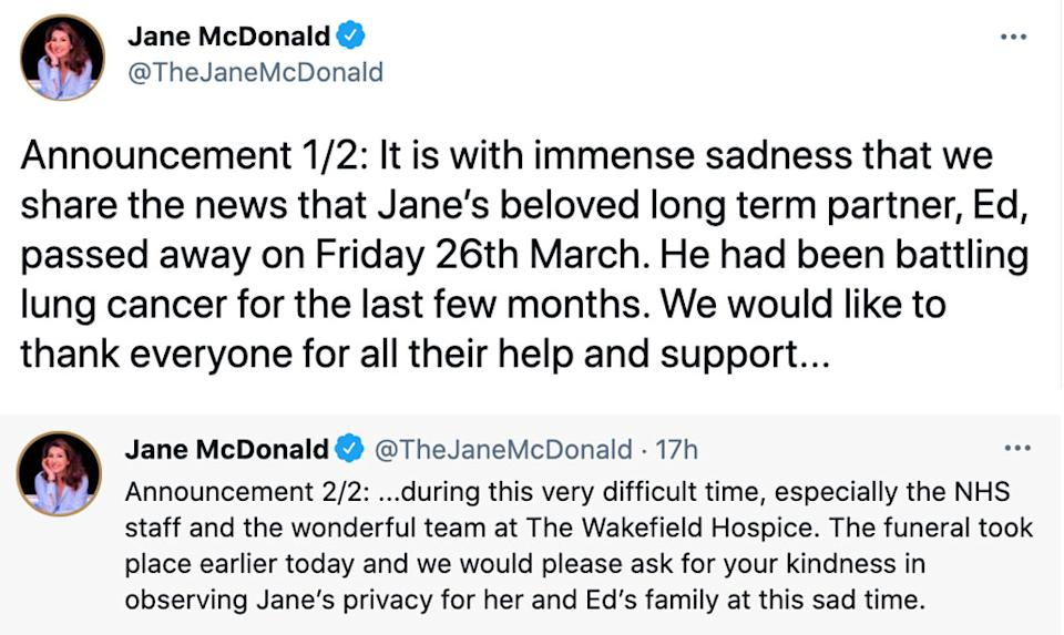 Jane McDonald shared the news to social media. (Twitter/Jane McDonald)