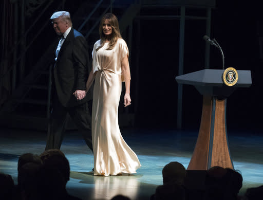 President Trump and first lady Melania Trump attend the Ford's Theatre Annual Gala in Washington on Sunday. (Photo: AP Images)