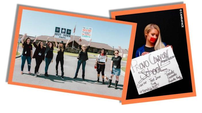 Collage image showing Paris Hilton alongside other protesters outside Provo Canyon and holding a sign in image with red tape over her mouth