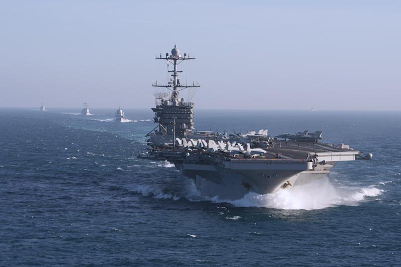 The aircraft carrier USS Harry S. Truman during a training exercise in the Atlantic: US Navy