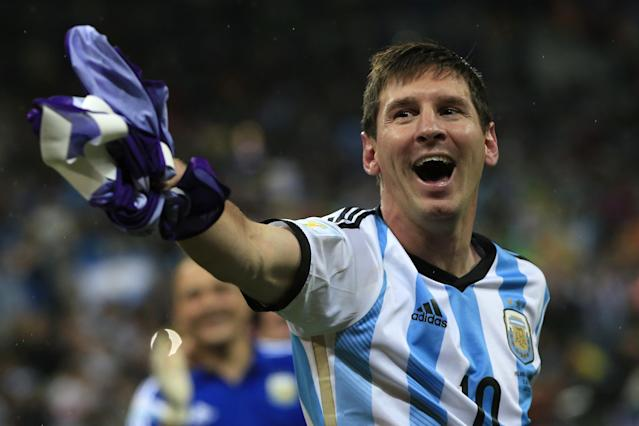 Argentina forward and captain Lionel Messi celebrates his team's victory at the end of their World Cup semi-final against the Netherlands at The Corinthians Arena in Sao Paulo on July 9, 2014 (AFP Photo/Adrian Dennis)