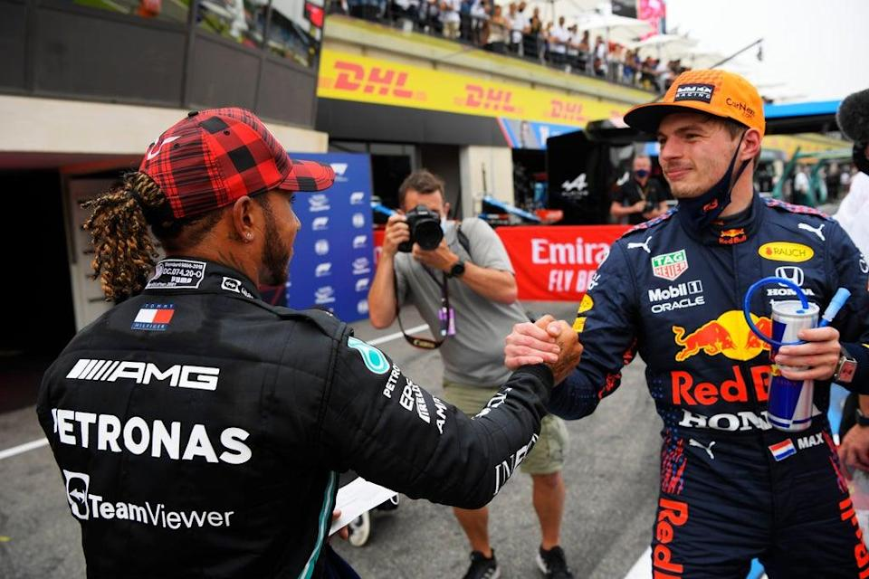 Max Verstappen (right) leads Lewis Hamilton by five points in the 2021 Drivers' Championship  (Getty Images)