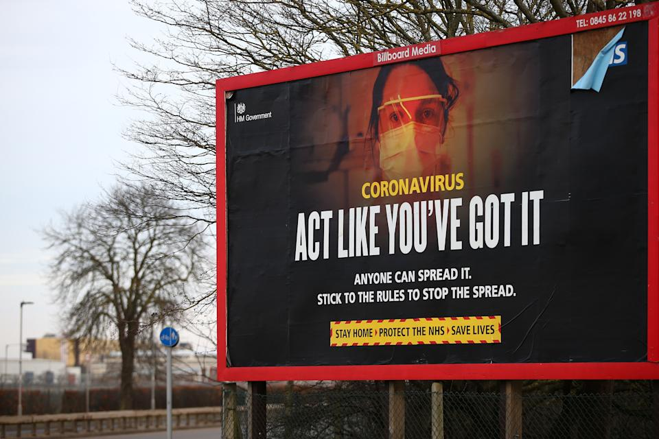 LONDON, ENGLAND - FEBRUARY 13: A coronavirus billboard near Heathrow Airport on February 13, 2021 in London, England. From 15 February travellers to the UK from a country on the UK's travel ban