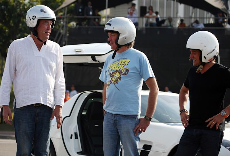 Jeremy Clarkson with James May and Richard Hammond during the BBC Top Gear Festival from Moses Mabhida Stadium on June 17, 2012 in Durban, South Africa. (Photo by Steve Haag / Gallo Images/Getty Images)