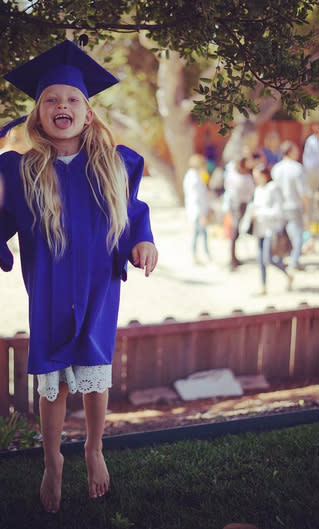 """<p>Jessica Simpson's daughter, Maxwell, was jumping for joy at her preschool graduation on June 14. The barefoot babe, 5, keeps her mama on her toes, the singer-turned-fashionista noted,""""Someone is excited for kindergarten! How do all you moms do it? I need help."""" (Photo: <a href=""""https://www.instagram.com/p/BVVWJz5AwuN/?taken-by=jessicasimpson&hl=en"""" rel=""""nofollow noopener"""" target=""""_blank"""" data-ylk=""""slk:Jessica Simpson via Instagram"""" class=""""link rapid-noclick-resp"""">Jessica Simpson via Instagram</a>)<br></p>"""