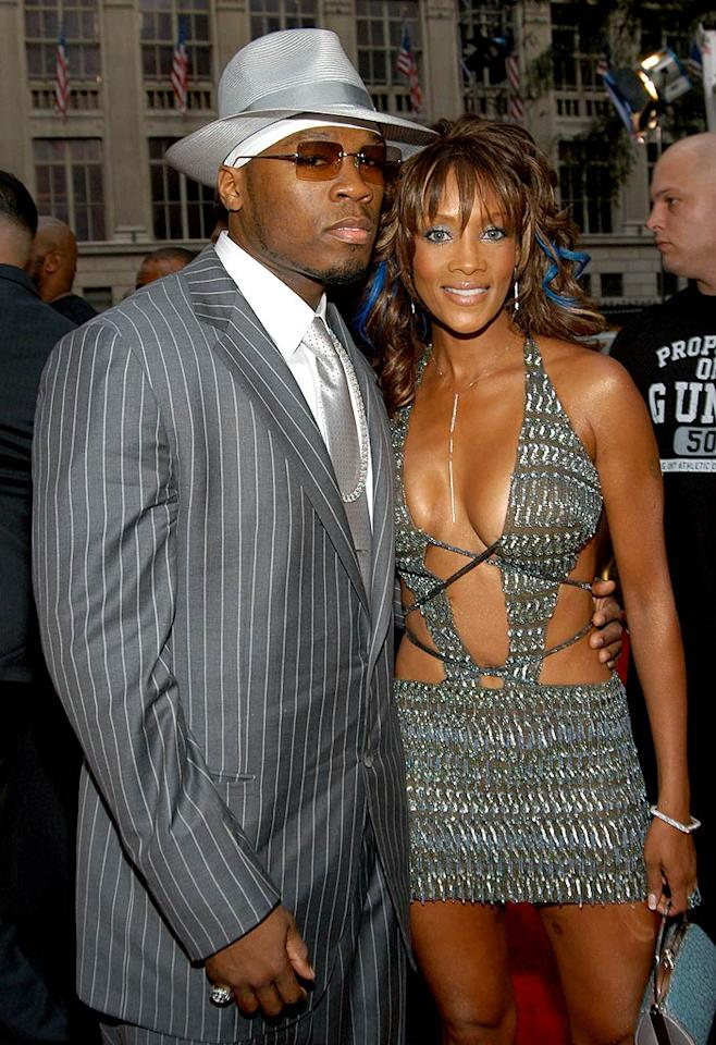 """<b>VMA Moment #7: Vivica A. Fox and 50 Cent? (2003)</b>   Jaws dropped when Vivica A. Fox and 50 Cent -- clad in flashy matching gray outfits -- arrived together at the 2003 MTV VMAs. Not only because of the surprise coupling, but because of Vivica's skimpy ensemble! Kevin Mazur/<a href=""""http://www.wireimage.com"""" target=""""new"""">WireImage.com</a> - August 28, 2003"""