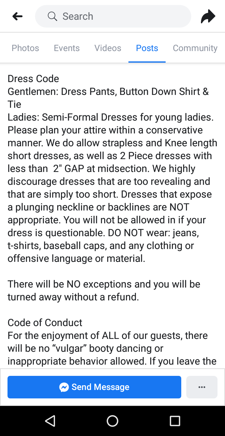 A screenshot of Tampa Bay Homeschool Homecoming's dress code, provided to Yahoo Lifestyle. (Photo: Melissa Krueger)