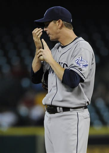 San Diego Padres' Kip Wells prepares to throw his first pitch against the Houston Astros in the first inning of a baseball game Tuesday, June 26, 2012, in Houston. (AP Photo/Pat Sullivan)