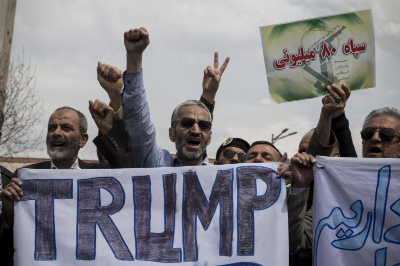 Protesters chant slogans in a rally against the U.S.'s decision to designate Iran's powerful Revolutionary Guards as a foreign terrorist organization, after their Friday prayers in Tehran, Iran, on April 12, 2019. (Photo: Rouzbeh Fouladi/NurPhoto via Getty Images)
