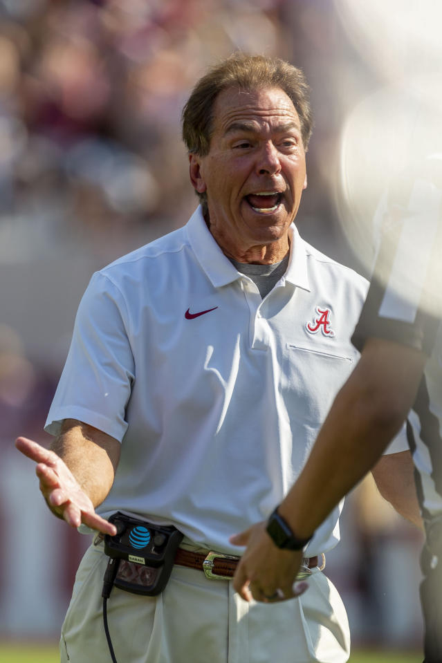 Alabama head coach Nick Saban yells at the referees during the first half of an NCAA college football game against Mississippi, Saturday, Sept. 28, 2019, in Tuscaloosa, Ala. (AP Photo/Vasha Hunt)