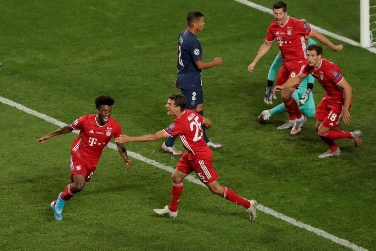 Bayern Munich winger Kingsley Coman (L) celebrates scoring the winning goal against PSG in the 2020 Champions League final last August in Lisbon