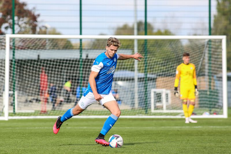 Bobby Copping in action for Peterborough United on his return from injury in an Under 23s friendly match against Queens Park Rangers