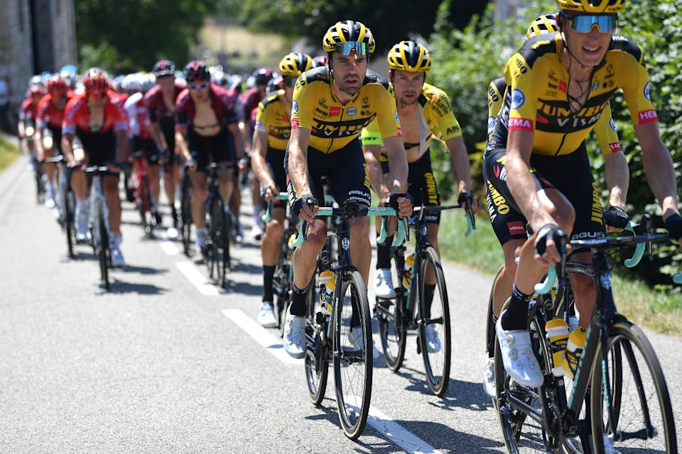 GRAND COLOMBIER FRANCE  AUGUST 09 Primoz Roglic of Slovenia and Team Jumbo  Visma Yellow Leader Jersey  Tom Dumoulin of The Netherlands and Team Jumbo  Visma  Peloton  during the 32nd Tour de LAin 2020 Stage 3 a 145km stage from Saint Vulbas to Grand Colombier 1501m  tourdelain  TOURDELAIN  TDA  on August 09 2020 in Grand Colombier France Photo by Justin SetterfieldGetty Images