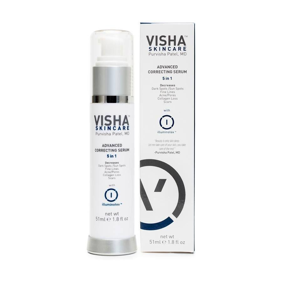 """<p><strong>Visha Skincare</strong></p><p>vishaskincare.com</p><p><strong>$65.00</strong></p><p><a href=""""https://go.redirectingat.com?id=74968X1596630&url=https%3A%2F%2Fwww.vishaskincare.com%2Fcollections%2Ftreatments%2Fproducts%2Fadvanced-correcting-serum-with-illuminotex&sref=https%3A%2F%2Fwww.prevention.com%2Fbeauty%2Fskin-care%2Fg34339161%2Fbest-niacinamide-serums%2F"""" rel=""""nofollow noopener"""" target=""""_blank"""" data-ylk=""""slk:SHOP NOW"""" class=""""link rapid-noclick-resp"""">SHOP NOW</a></p><p>Dr. Patel's formulated niacinamide into her own product for a reason: to <strong>promote exfoliation, improve skin's barrier, and even out skin tone.</strong> It's also packed with other agents that target discoloration, including kojic acid and licorice extract, as well as retinol to promote collagen formation and smooth fine lines.</p>"""