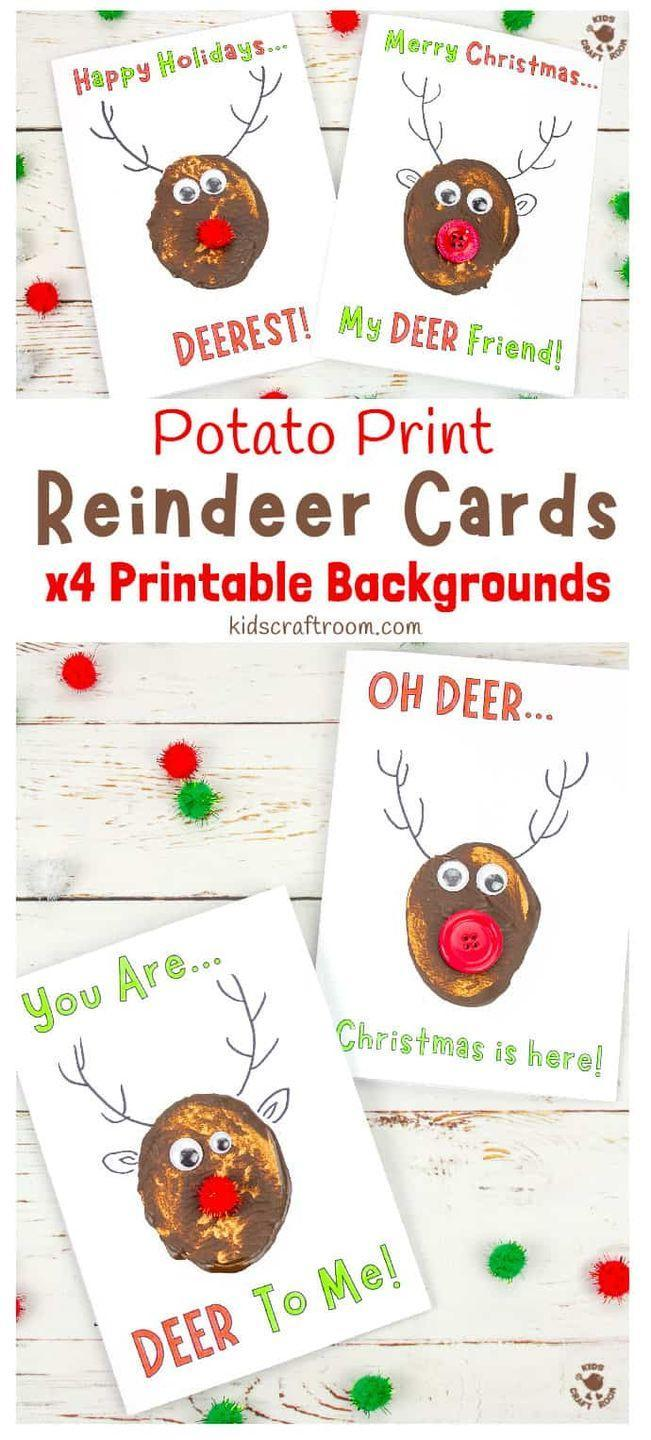 """<p>You don't need any special stamps to create these funny reindeer—just a potato, believe it or not. Embellish the design with whatever you have on hand (buttons, pom-poms, pipe cleaners, etc.). </p><p><em>Get the tutorial at <a href=""""https://kidscraftroom.com/potato-print-reindeer-christmas-cards/"""" rel=""""nofollow noopener"""" target=""""_blank"""" data-ylk=""""slk:Kids Craft Room"""" class=""""link rapid-noclick-resp"""">Kids Craft Room</a>.</em></p><p><a class=""""link rapid-noclick-resp"""" href=""""https://www.amazon.com/Apple-Barrel-22489E-Acrylic-Nutmeg/dp/B079YDNQFL?tag=syn-yahoo-20&ascsubtag=%5Bartid%7C10072.g.34351112%5Bsrc%7Cyahoo-us"""" rel=""""nofollow noopener"""" target=""""_blank"""" data-ylk=""""slk:SHOP BROWN PAINT"""">SHOP BROWN PAINT</a></p>"""