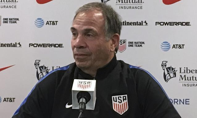 USA coach Bruce Arena speaks to the media during a press conference ahead of Friday's World Cup qualifier against Panama.