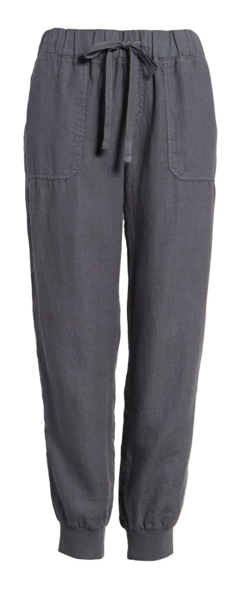 Caslon Linen Jogger Pants in Grey Ebony