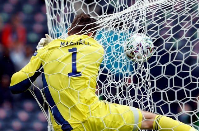 Scotland goalkeeper David Marshall had a moment to forget when he was beaten from long range by Czech Republic's Patrik Schick
