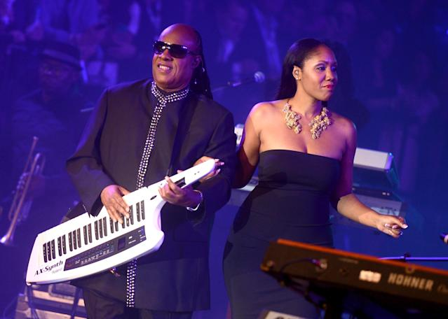 NEW ORLEANS, LA - FEBRUARY 02: Musician Stevie Wonder and daughter Aisha Morris perform onstage at Bud Light Presents Stevie Wonder and Gary Clark Jr. at the Bud Light Hotel on February 2, 2013 in New Orleans, Louisiana. (Photo by Stephen Lovekin/Getty Images for Bud Light)