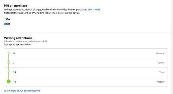 Amazon Prime Instant Video lets you choose age setting restrictions to limit which content is available to kids.