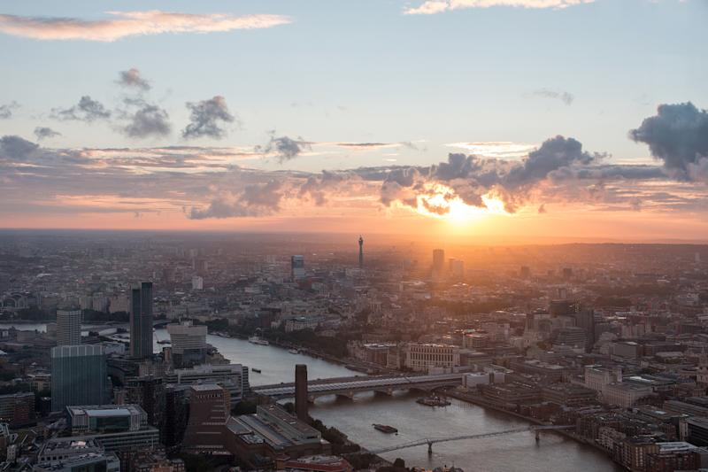 Sunset in London with some of it's landmarks