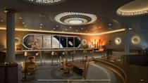 <p>For the first time on a Disney ship, guests will embark on a space-jumping tour of the Star Wars galaxy at Star Wars: Hyperspace Lounge, a high-end bar styled as a luxurious yacht-class spaceship. Offering interactive tasting experiences and signature beverages inspired by destinations such as Batuu, Tatooine and Mustafar. (Disney)</p>
